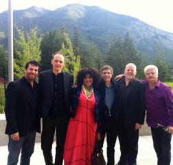 With Measha Brueggergosman at The Banff Centre for the Arts (Left to Right- Davide DiRenzo, Jamie, Measha, Aaron Davis, George Koller, Johnny Johnson).
